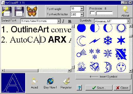 AutoCAD Text Editor - Convert TTF words and symbols into DXF. Screen Shot